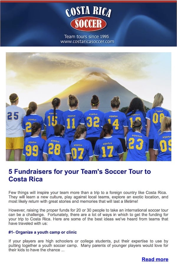 Newsletter costa rica soccer tours sample newsletter from costa rica soccer tours thecheapjerseys Choice Image